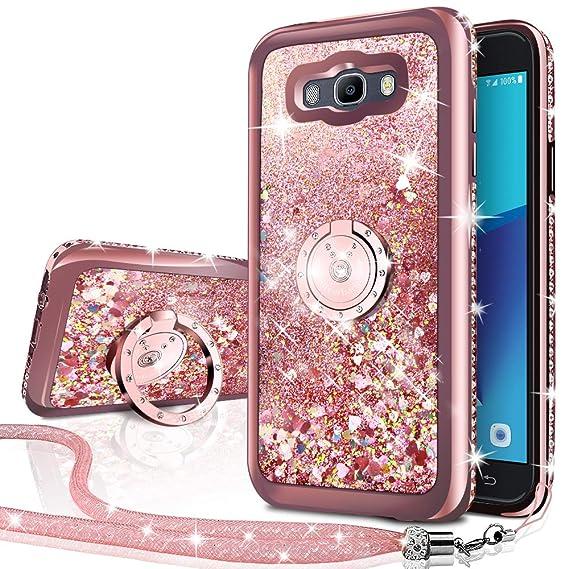 best service 86a79 6c7ae Galaxy J7 2016 Case, Galaxy J710 Case, Silverback Moving Liquid Holographic  Glitter Case with Ring Stand, Bling Diamond Rhinestone Bumper Slim Samsung  ...