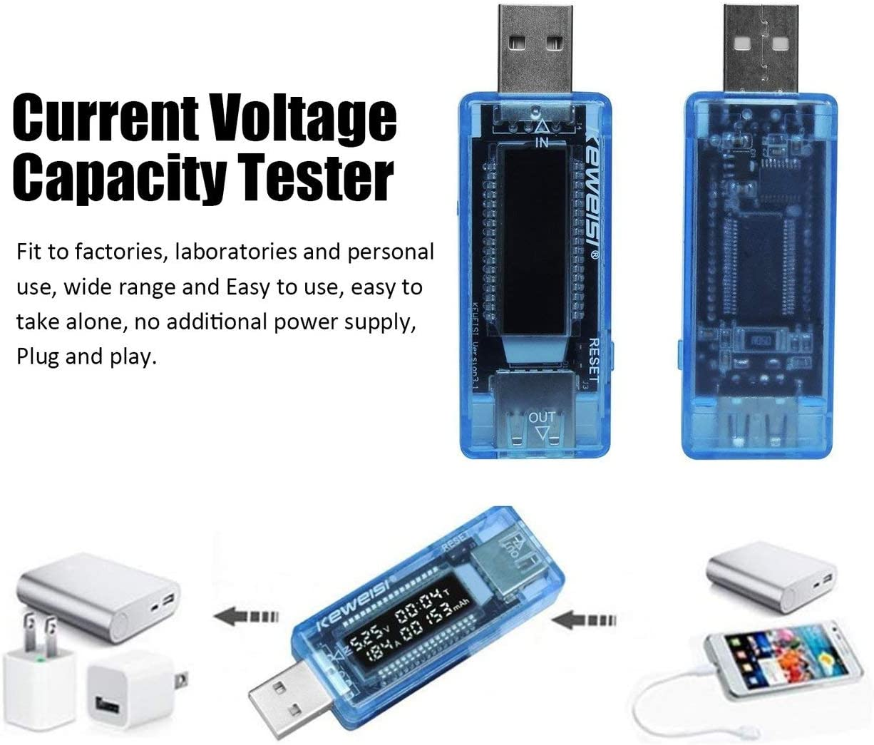 LCD USB D/étecteur USB Volt Courant Tension Doctor Chargeur Capacit/é Capacit/é Plug and Play Banque Testeur Compteur Voltm/ètre Amp/èrem/ètre