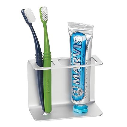 mDesign Soporte para cepillo de dientes autoadhesivo de aluminio – Moderno soporte de pared para cepillos