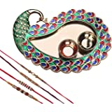 Mela Set Of 4 Rakhi With Decorative Pooja Plate (Peacock) And Kumkum Chawal For Brother(Men)