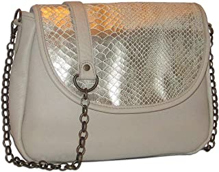 product image for Ivory Metallic Snakeskin Italian Leather Medium Foldover Crossbody