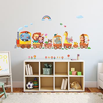 Exceptional Decowall DA 1406A Animal Trains Kids Wall Stickers Wall Decals Peel And  Stick Removable Wall Part 25