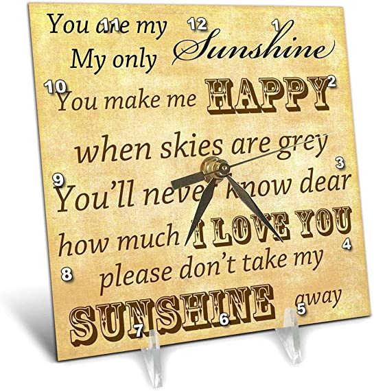3dRose dc_79369_1 Vintage Songs You are My Sunshine- Love Songs-Desk Clock, 6 by 6-Inch