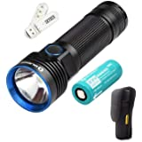 Bundle: Olight R50 Seeker Cree XLamp XHP50 LED 2500 Lumens Rechargeable Flashlight With Rechargeable 26650 4500mAh Battery+Skyben Holster and USB Light