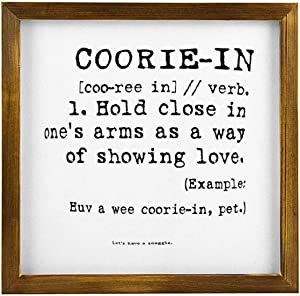 NOT BRANDED Wooden Sign with Inspirational Saying for Office and Home Decor Wooden Framed Sign Scottish Words Coorie in Cushion 12x12 Inches