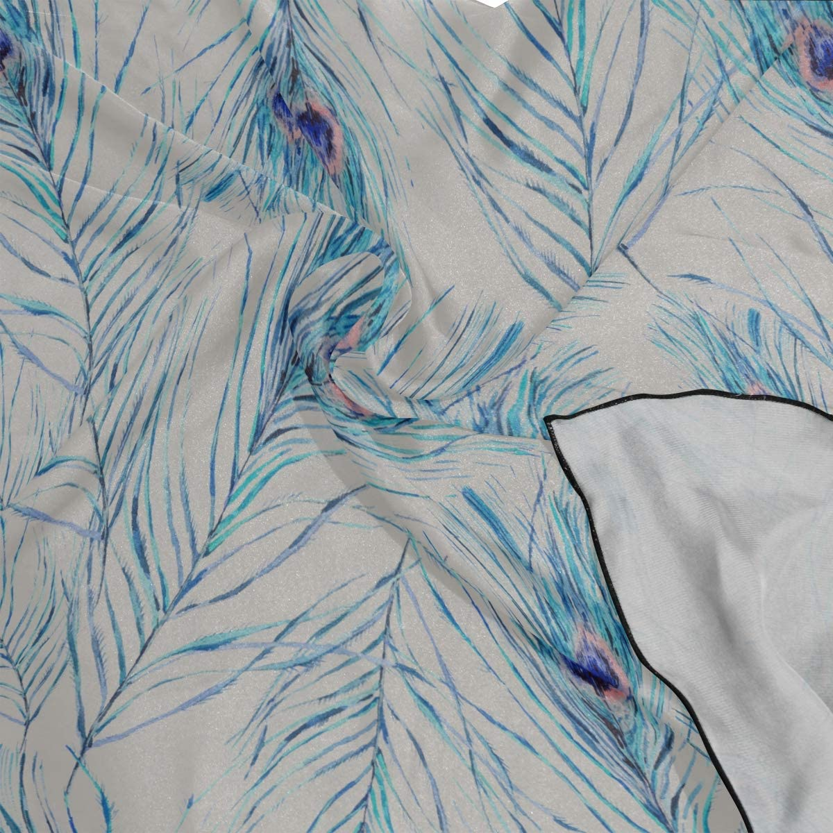 Soft Polyester Silk Head Scarf Men Fashion Print Cute Colorful Feather Square Scarfs For Women Womans Scarves Scarves Lightweight Multiple Ways Of Wearing Daily Decor