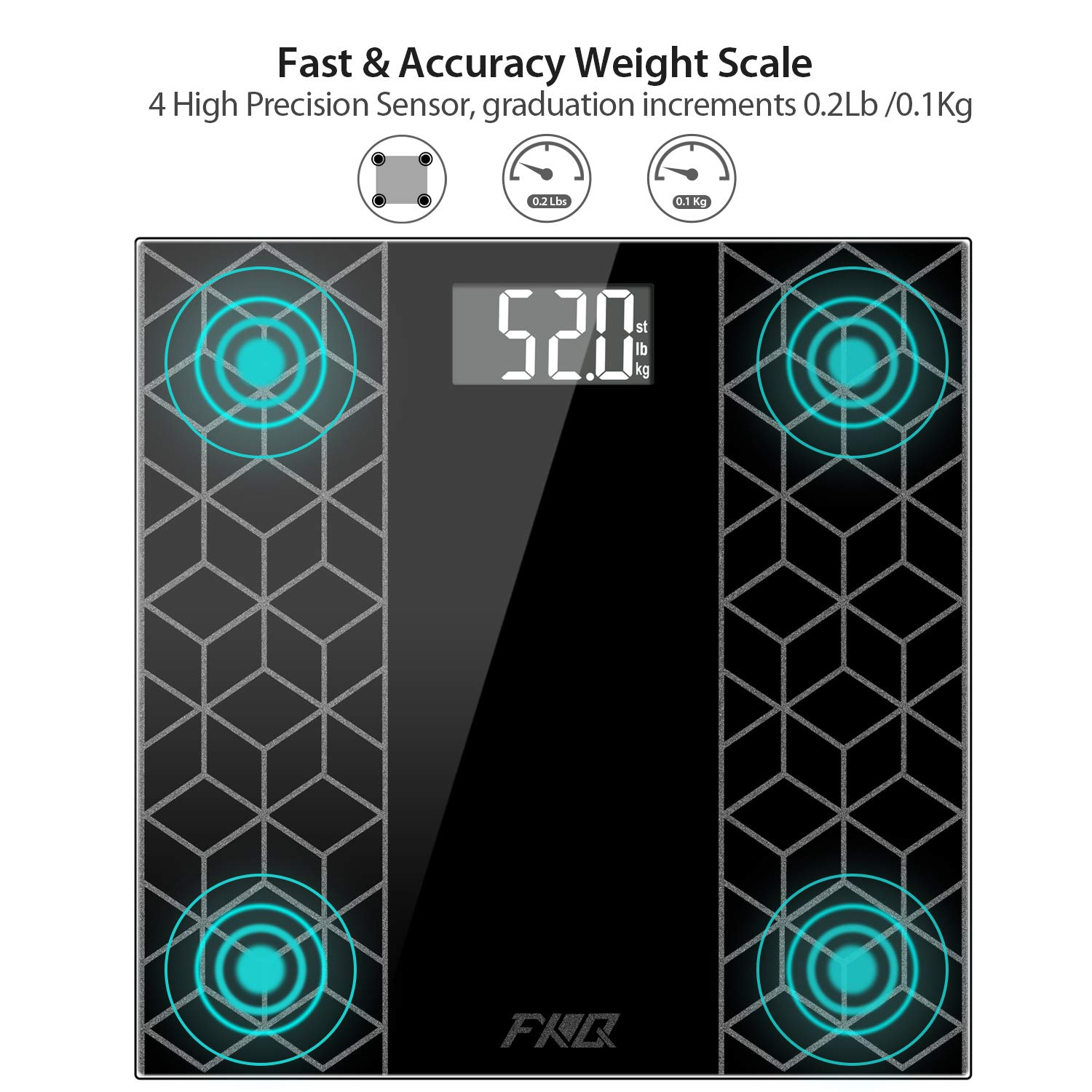 Digital Body Weight Bathroom Scale, FXQ High Precision Sensor Digital Bathroom Scale with Large Blue LCD Backlight Display, 8MM Shatter-Resistant Tempered Glass and Body Measuring Tape, Black