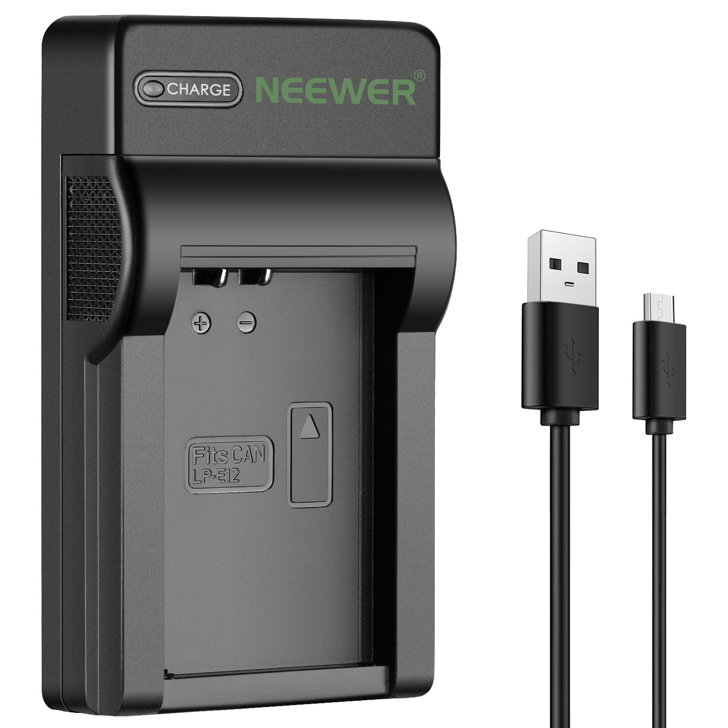 Neewer Micro USB Battery Charger for Canon LP-E12 Battery, Canon EOS M100, EOS M2, EOS M, EOS M10, EOS 100D, Rebel SL1 Mirrorless Digital SLR Cameras (Ultra Slim, Fast Charge) 10093106