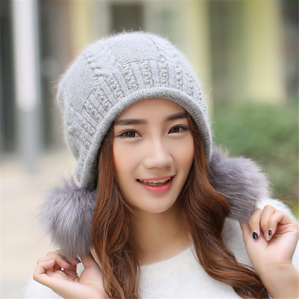 GAOQIANGFENG Warmed Knitting Wool Hat in in in Otoño and Invierno,Gris e71036
