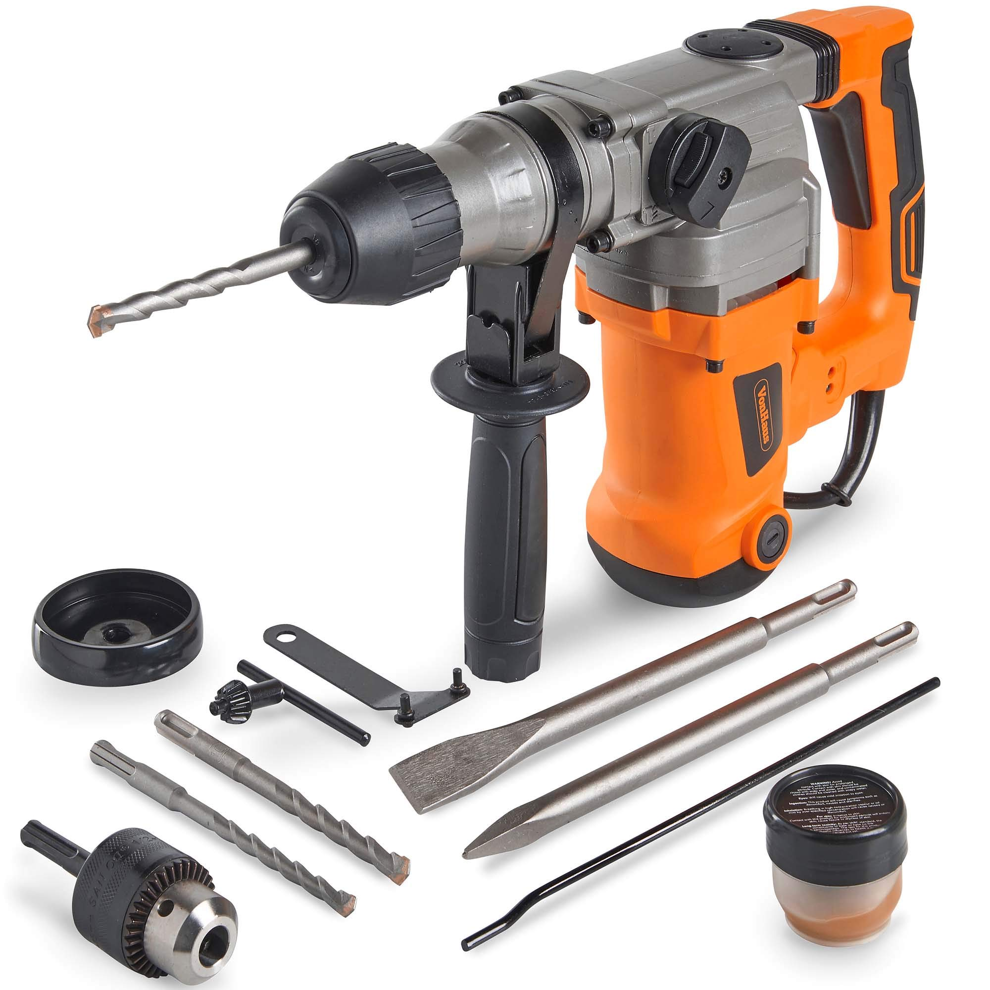 VonHaus 10 Amp Electric Rotary Hammer Drill with Vibration Control, 3 Drill Functions, Variable Speed and Adjustable Handle - Includes SDS Drill Bits Demolition Kit, Flat and Point Chisels with Case