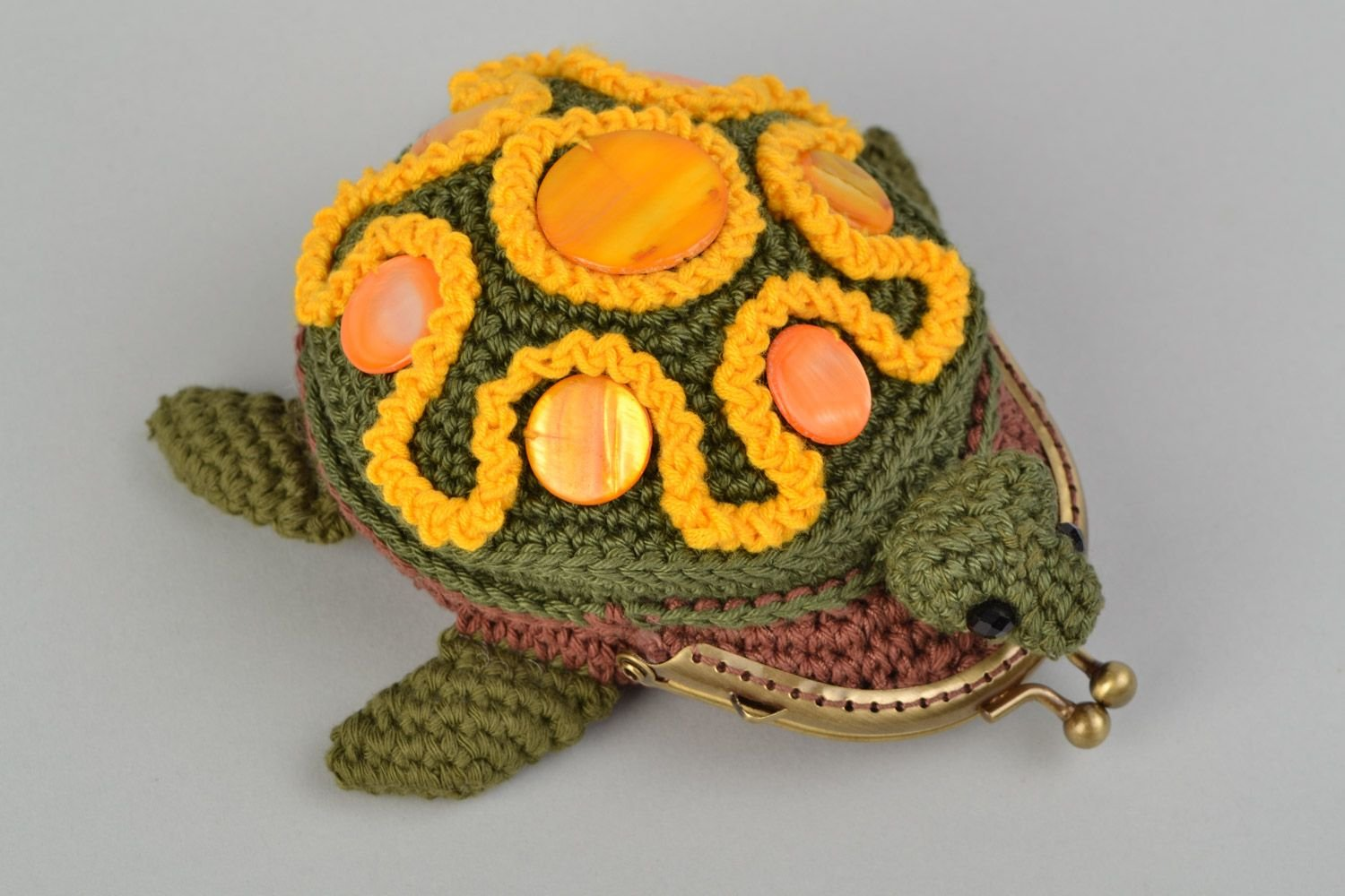 Monedero tejido a ganchillo de algodon multicolor tortuga artesanal: Amazon.es: Hogar