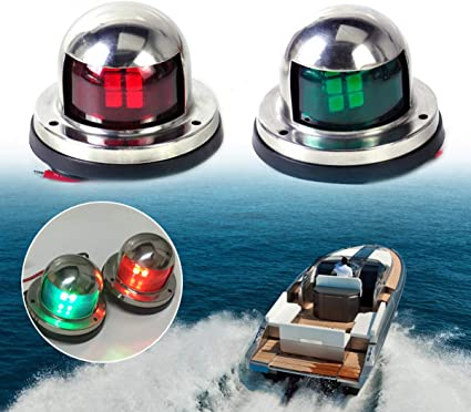 Portable Stainless Steel 12V Yacht Shipping Signal Lamp Indicator HERCHR Led Boat Navigation Lights