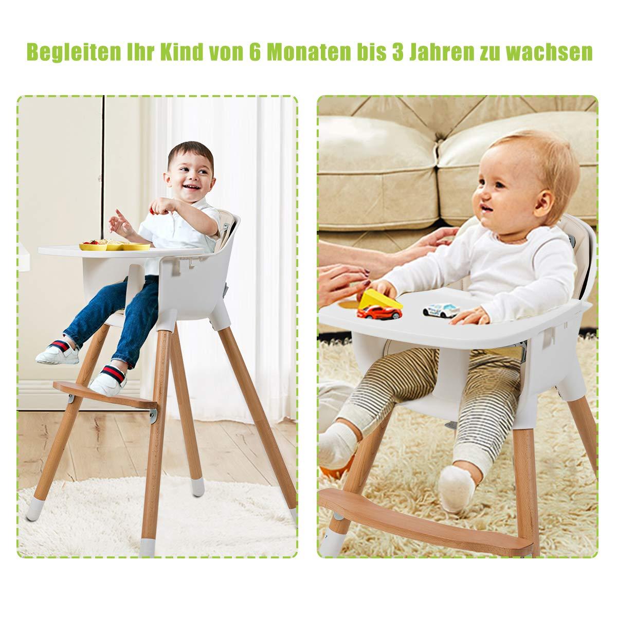 Kombihochstuhl Baby f/ür Kleinkinder und S/äuglinge Holzhochstuhl Kinder mit einstellbare Ablage und Fu/ßst/ütze Treppenhochstuhl COSTWAY 2-in-1 Babyhochstuhl Kinderhochstuhl aus Holz