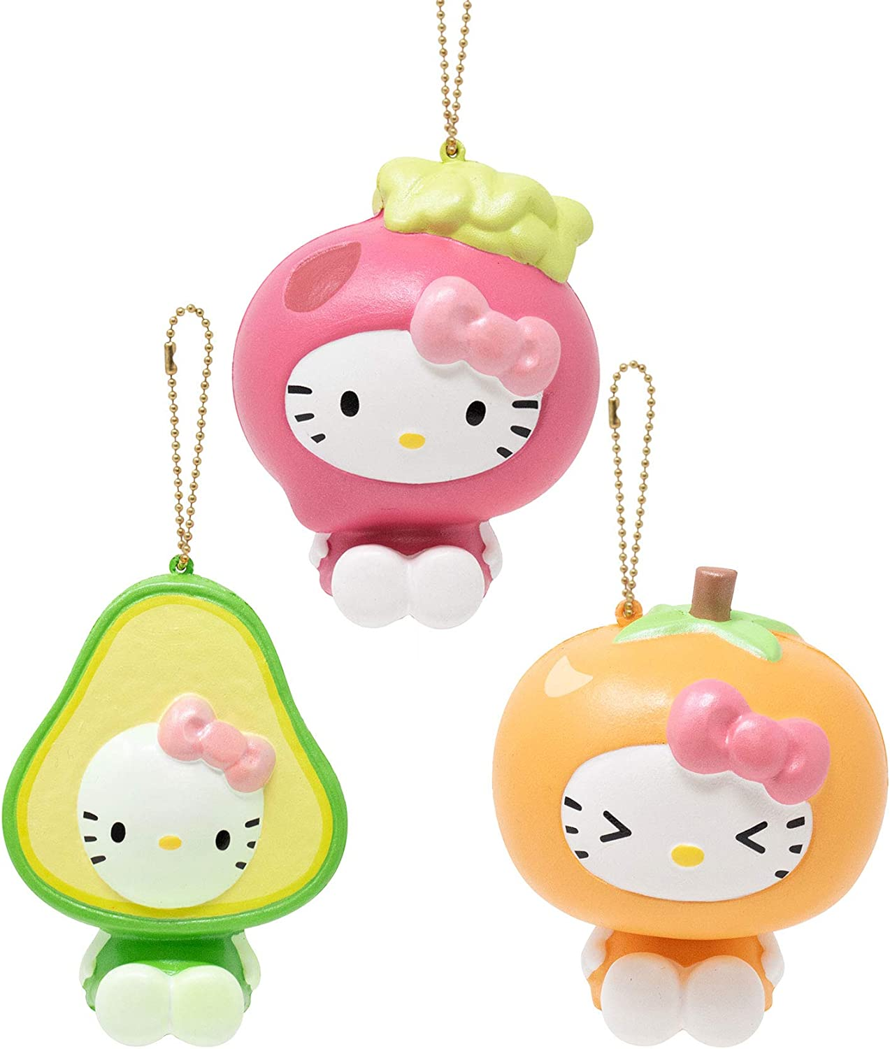 Sanrio Officially Licensed Hello Kitty Fruit and Veggie Cute Slow Rising Squishy Toy (Avocado, Persimmon, Beet, 3 Piece Set) [Birthday Gift Box, Party Favors, Gift Basket Filler, Stress Relief Toys]