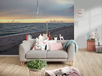 Awallo Fototapete Motiv Abendsonne In Gelb Blau Grau In 400x250cm  Bild Tapete Wand Tapete