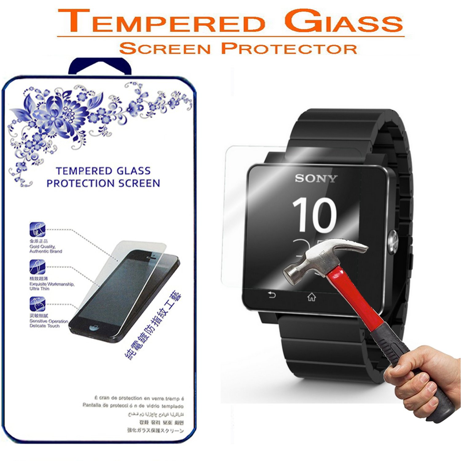 Sony Smart Wacth 2 / SW2 Screen Protector,Nacodex For Sony Smart Wacth 2 / SONY SW2 Premium Ballistic Tempered Glass Screen Protector