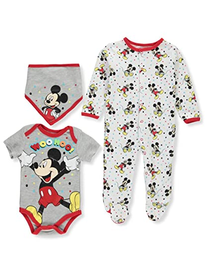 01bc239fbf4a Amazon.com  Disney Baby Boys  Mickey Mouse 3 Piece Footie with Bib ...