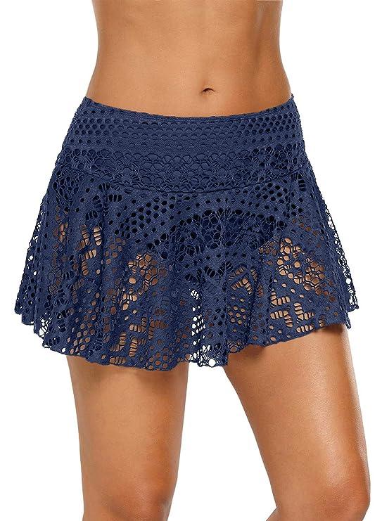 0ec32aeb8e Amazon.com: XAKALAKA Women Crochet Lace Bikini Bottom Swim Skirt Solid  Swimsuit Short S-XXL: Clothing