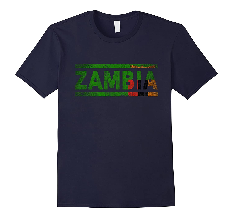 Zambia Retro Flag T-Shirt Zambian Distressed Graphic-TH