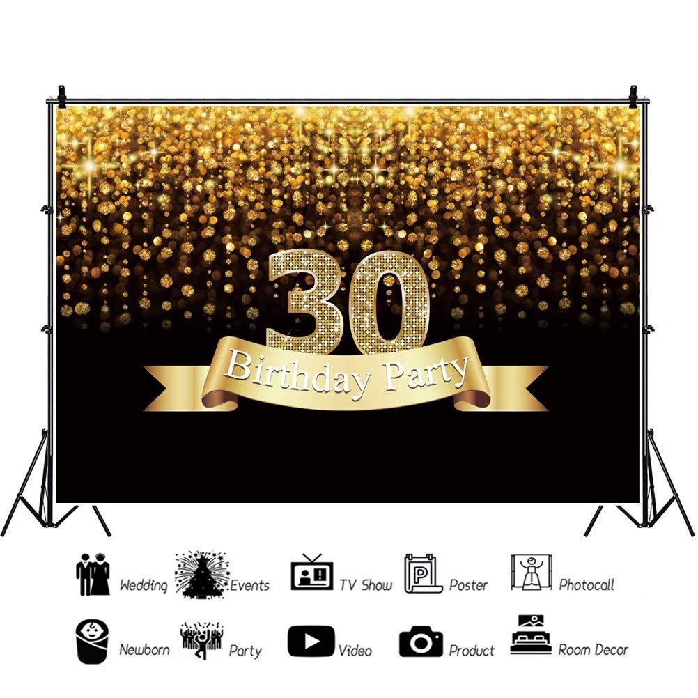 Cassisy 2,2x1,5m Vinilo Cumplea/ños Telon de Fondo 18 cumplea/ños Crown Gold Garland Logo Lentejuelas Brillantes Fondos para Fotografia Party Infantil Photo Studio Props Photo Booth