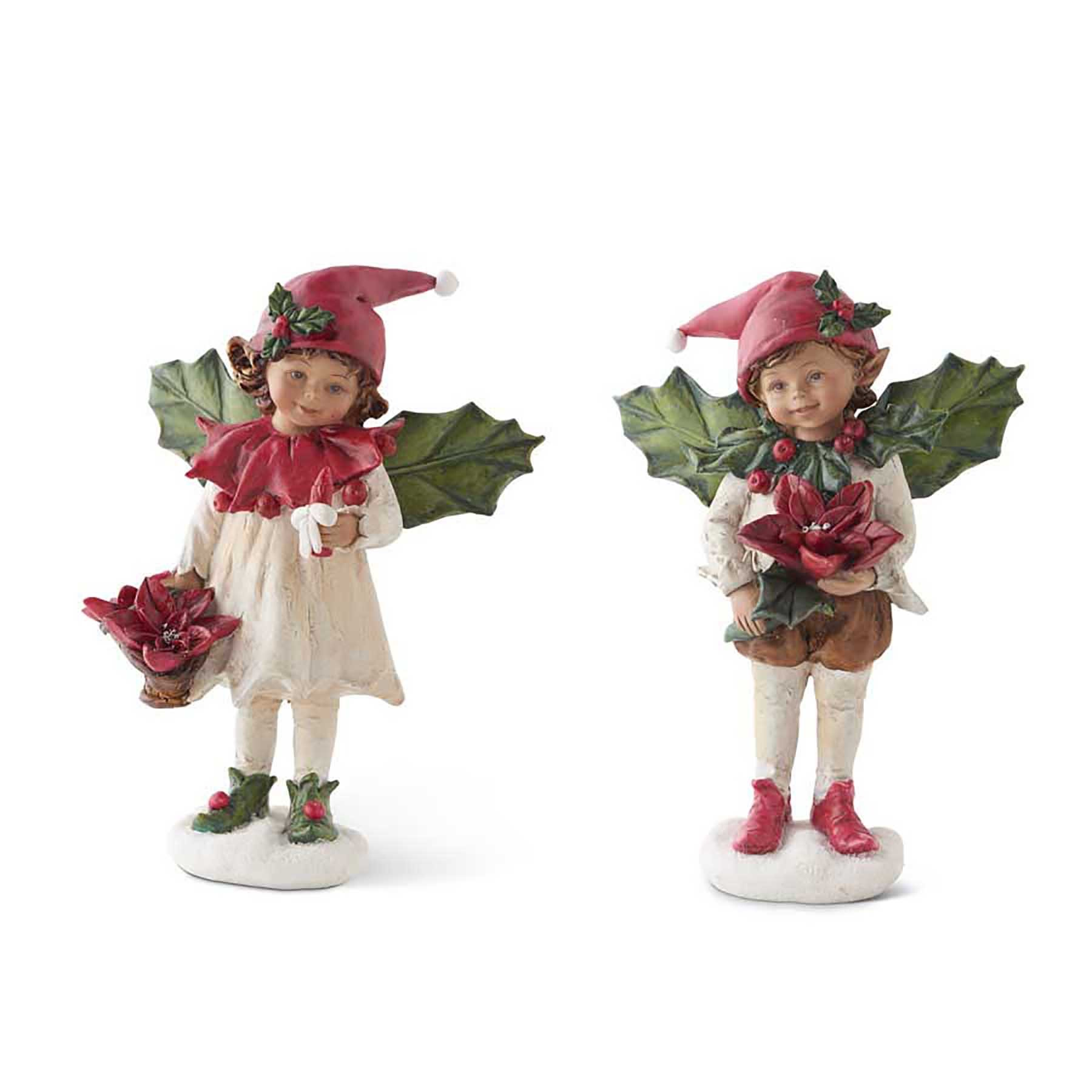 K&K Interiors Set of 2 Christmas Elf Figurines Holly Winged Boy and Girl Figures Tabletop Christmas Decor, Resin Angels (8 inches)