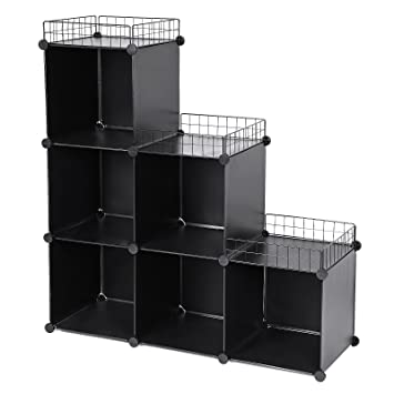 Songmics Plastic Cube Organiser Wardrobe Cabinet Storage Shelf With Top  Metal Net Stepped Type 6 Cubes
