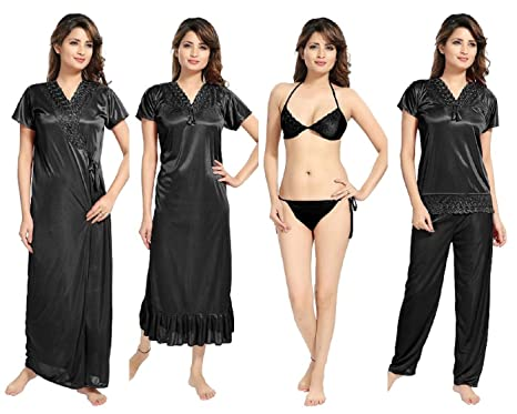 REPOSEY Women s Satin Nightwear Set of 6 Pcs Nighty beb346a9f