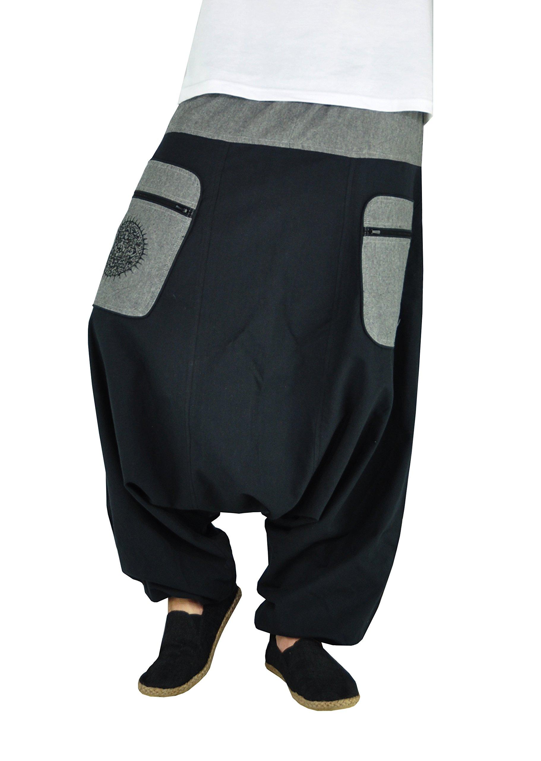 virblatt - Harem Pants for Men & Women | 100% Cotton | Drop Crotch Pants Men Parachute Pants Aladdin Pants Hippie Indie