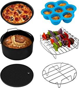 COSORI Accessories XL (C158-6AC) Set of 6 Fit all 5.8Qt, 6Qt Air Fryer, BPA Free, Dishwasher Safe, Nonstick Coating, Black