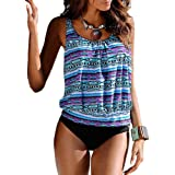 Blivener Women Padded Push Up 2 Pieces Tankini Sets Printed Flattering Casual Beachwear