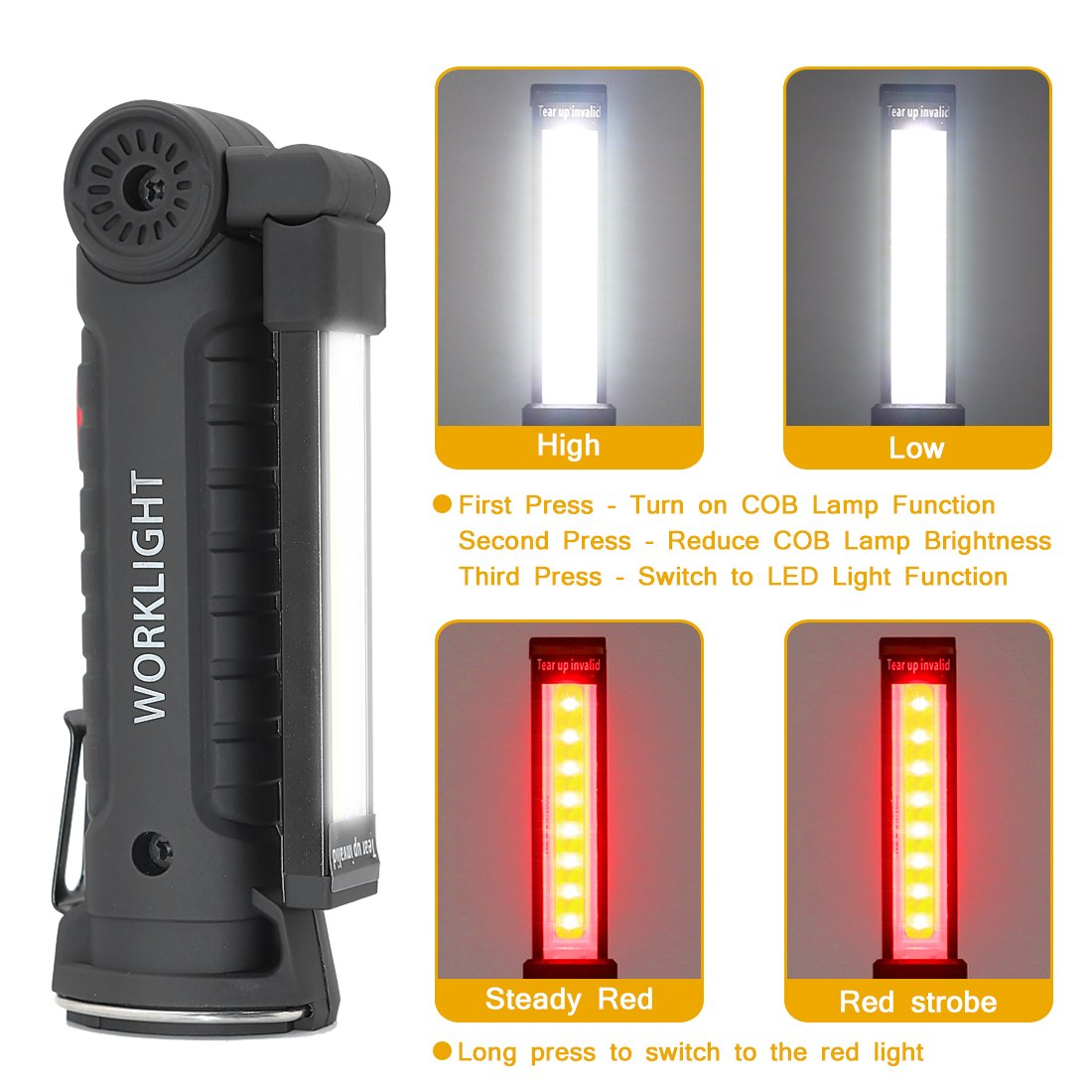 LED Work Light, JIRVY Portable Rechargeable LED COB Flashlight Super Bright 3W Inspection Light with Magnetic Stand for Repairing, Home, Camping, and Emergency(Small) by JIRVY (Image #6)