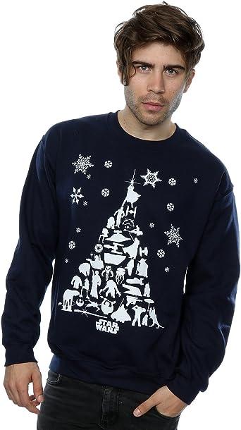Star Wars Hombre Christmas Tree Camisa de Entrenamiento: Amazon.es: Ropa y accesorios