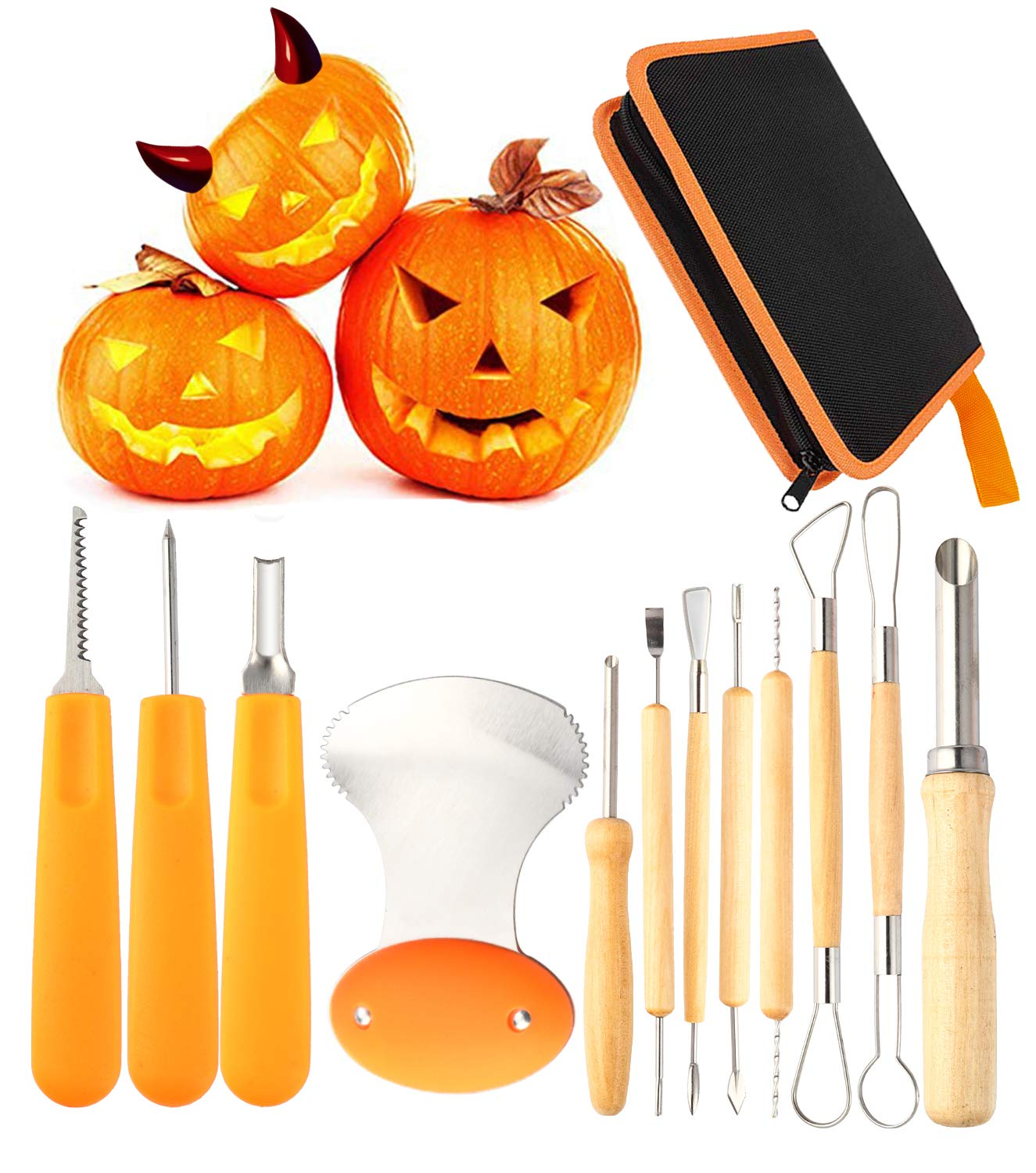 12 Pieces Professional Pumpkin Carving Tool Kit Heavy Duty Stainless Steel Tool Set with Storage Carrying Case Used As a Carving Knife for Pumpkin Halloween Decoration by Diravo