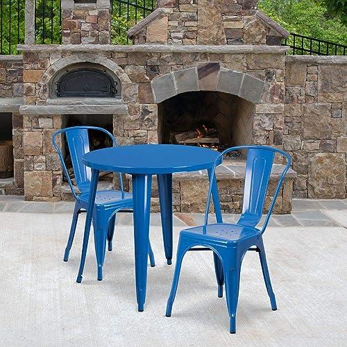 Flash Furniture Commercial Grade 30″ Round Blue Metal Indoor-Outdoor Table Set