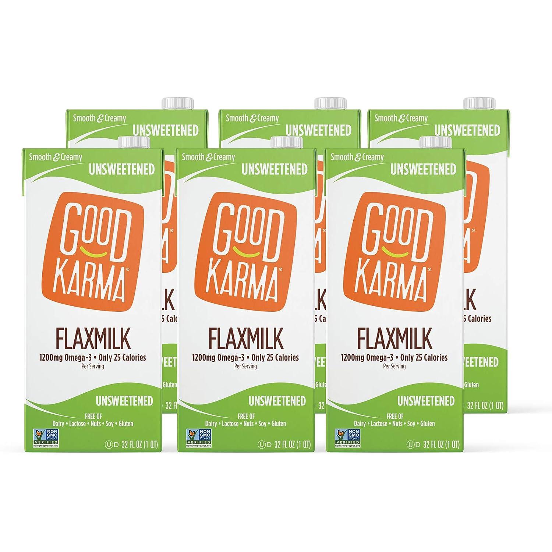 Good Karma Plant-Powered Flaxmilk, Classic Unsweetened, 32 oz Shelf-Stable Carton (Pack of 6) Dairy-Free, Plant Based Milk Alternative