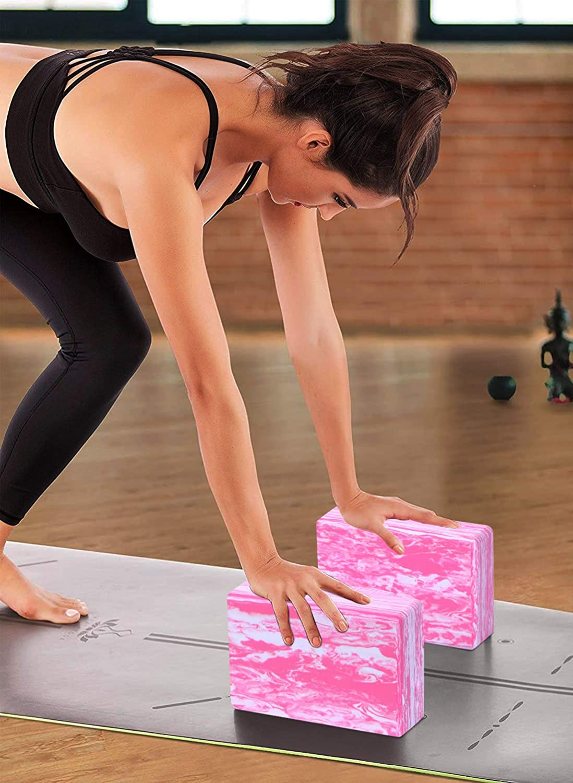 Pilates Provides Stability and Balance Meditation High Density Lightweight EVA Foam Block for Yoga ADRIMER Yoga Blocks 2 Pack with Yoga Strap