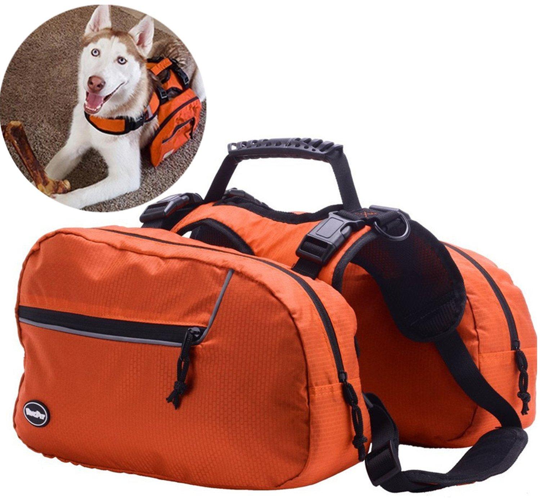 Dog Backpack Adjustable Saddlebag - Pack for Hiking Camping Travel Outdoor Orange Medium