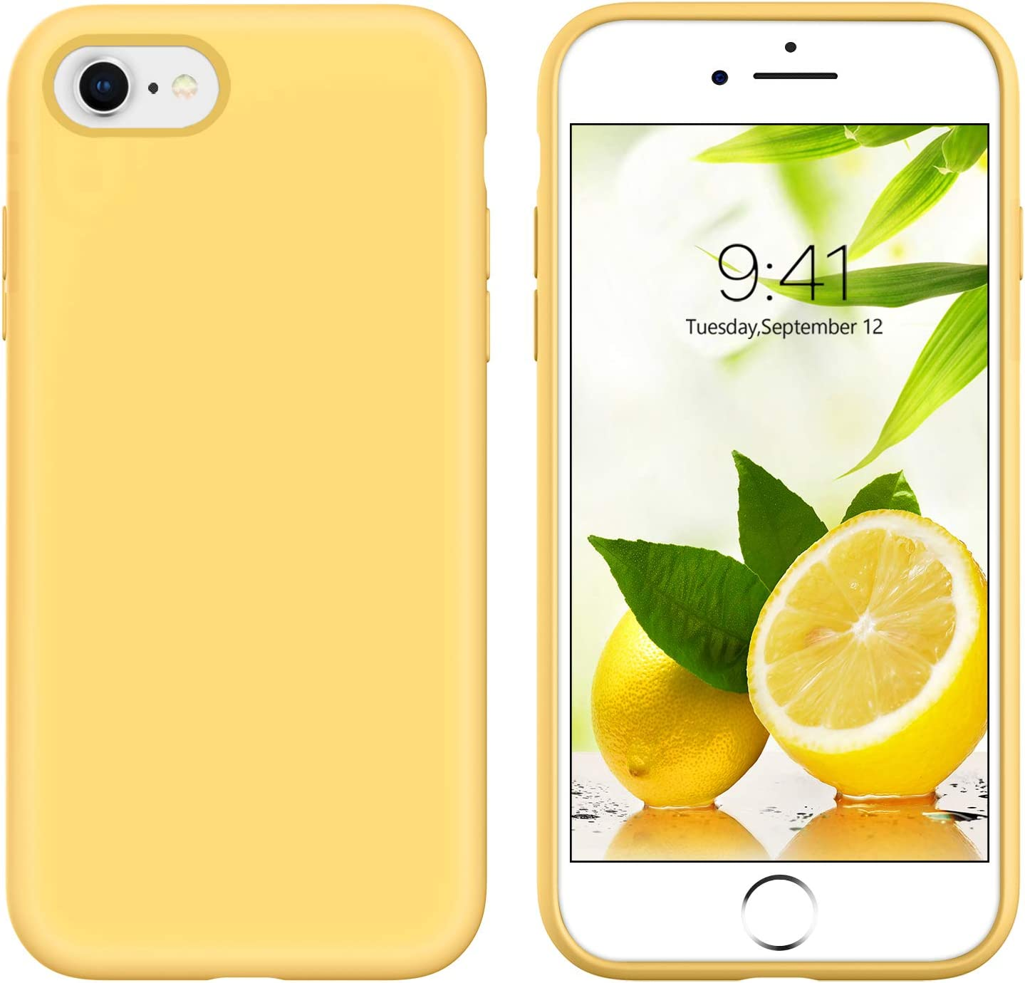GUAGUA iPhone SE 2020 Case iPhone 8 Case iPhone 7 Case 4.7-inch Liquid Silicone Soft Gel Rubber Slim Microfiber Lining Cushion Texture Cover Protective Case for iPhone 8/7/SE 2020 Yellow