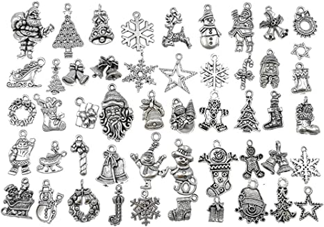 50 Vintage Christmas Xmas Tree Charm Pendant Jewelry Findings Tibetan Silver
