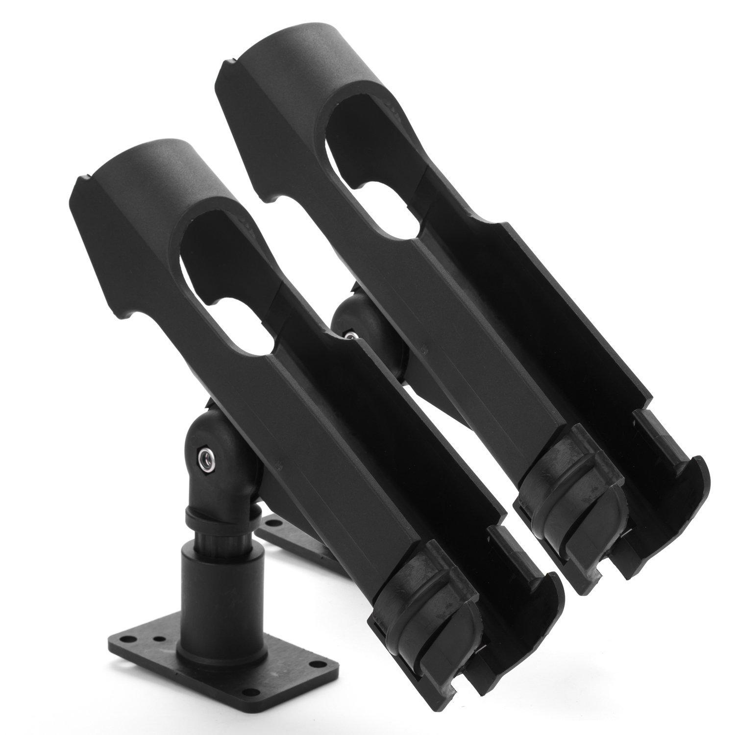Bekith 2 Pack Adjustable Powerlock Rod Holder with Combo Mount, Black Finish by Bekith