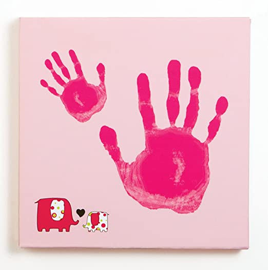 Pearhead Baby and Me Handprint Canvas Kit, Pink Elephant (Discontinued by Manufacturer)