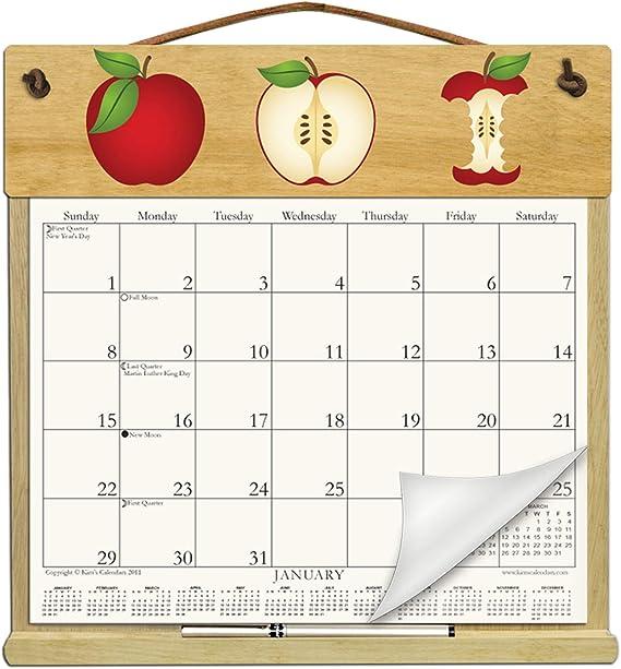 Calendario de pared (soporte de madera relleno con el resto de 2017, 2018 y una forma de orden para 2019-apples: Amazon.es: Oficina y papelería