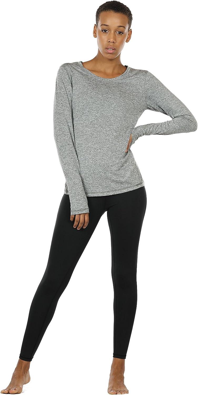 icyzone Damen Laufshirt Sport Training Langarm Shirt mit Daumenloch