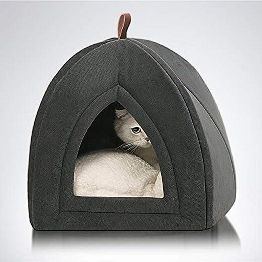 Oferta amazon: Bedsure Cama Gato Cueva Suave - Casa Gato Mediano Lavable con Cojín Desenfundable y Extraíble, Camas para Perros Pequeños 35x35x38cm, Gris Oscuro