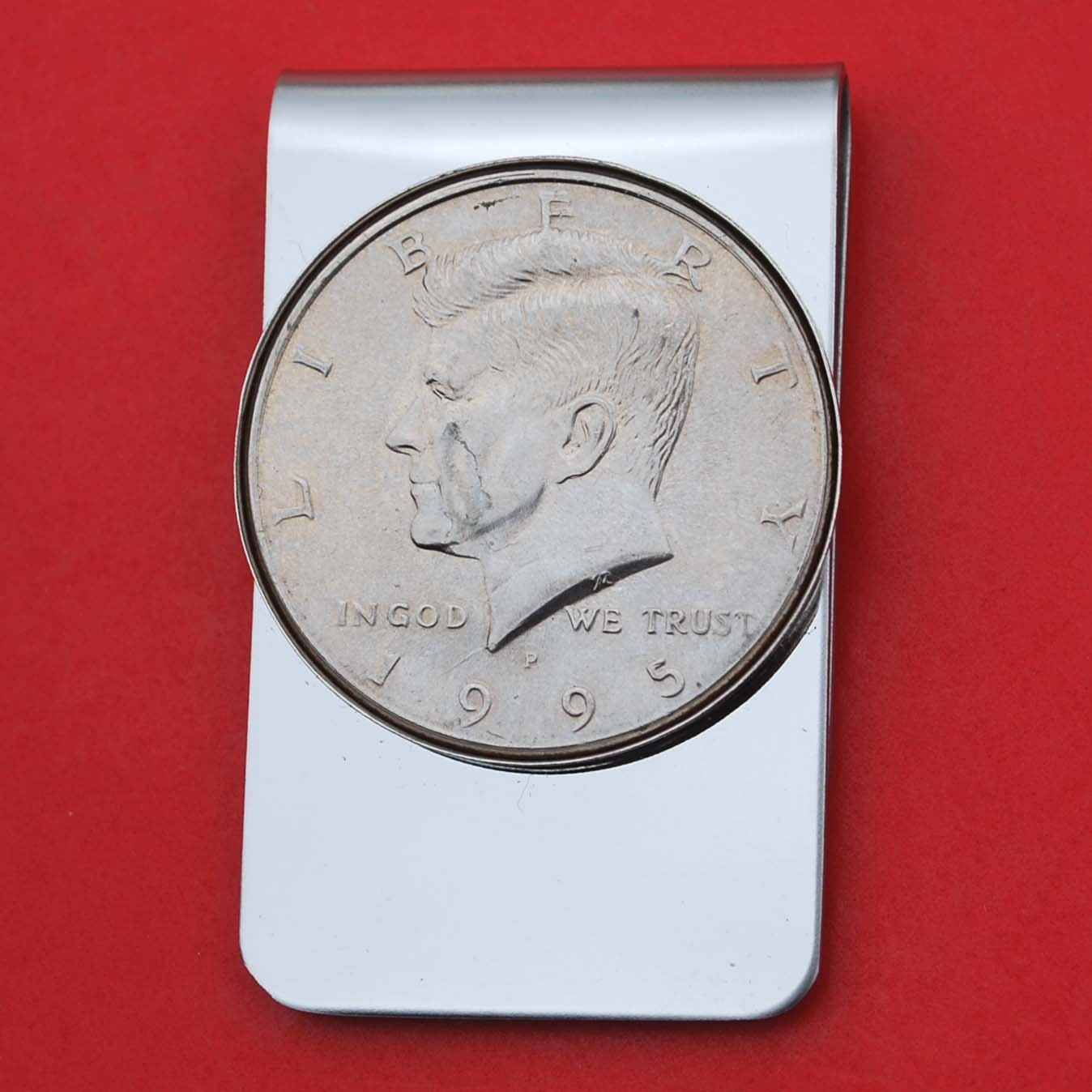 US 1995 Kennedy Half Dollar BU Uncirculated Coin Stainless Steel Money Clip NEW - Silver Plated Coin Bezel
