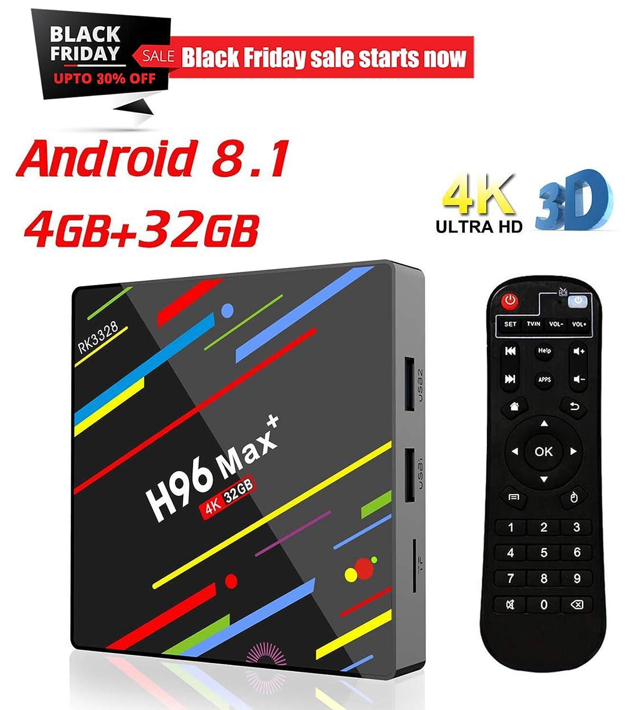 KUAK Android 8.1 TV Box RAM 4GB ROM 32GB H96 Max Plus Rockchip RK3328 Quad Core 64bit CPU WiFi 2.4G USB 3.0 HDMI 2.0a for 4k 60Hz H.265 HDR10 Ultra HD Playback AoXiong E-Commerce Co. Ltd
