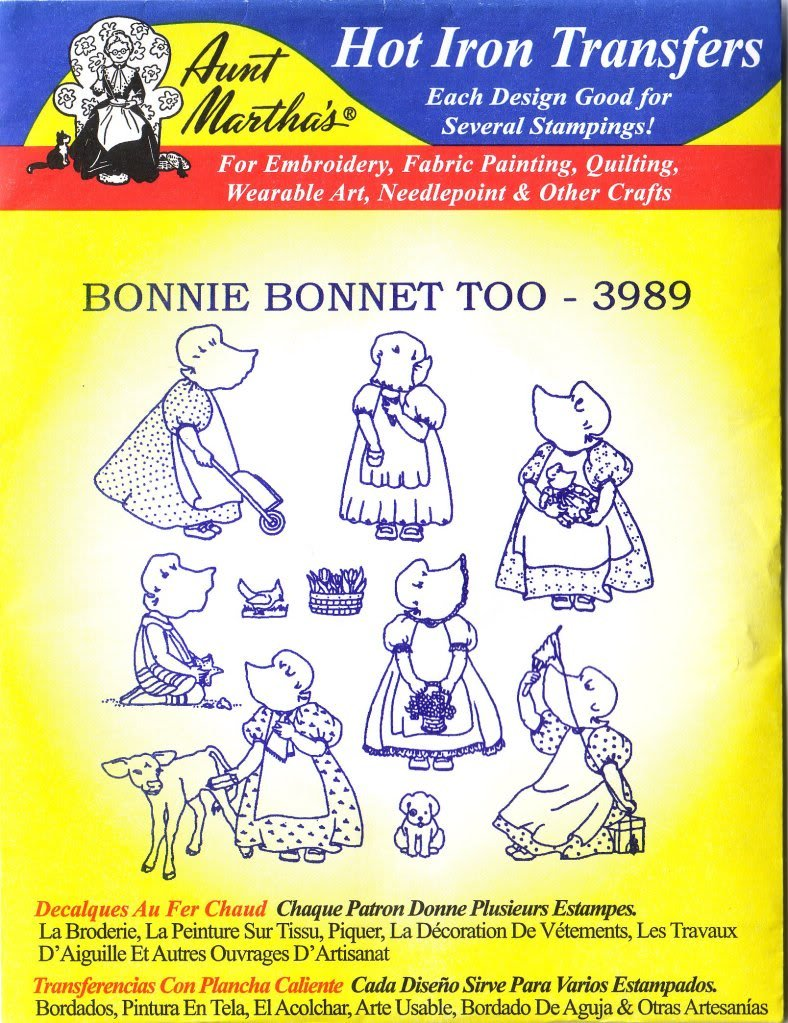 Bonnie capó demasiado tía Martha hierro caliente del bordado ...