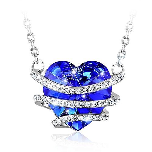 """CAROLIER JEWELRY Damen Halskette Swarovski Kristall Blau Herz Anhänger """"Venedig Liebe"""" Ket..."""