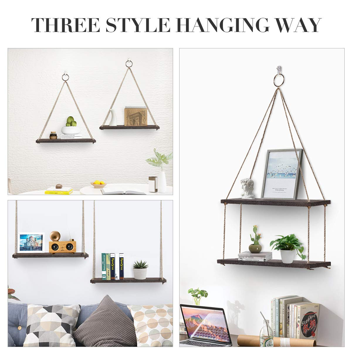 AGSIVO Floating Shelves with String,Hanging Shelf Wall Mounted Jute Rope,Rustic Wood Wall Shelves Swing Shelf Picture Ledge Home Storage Organizer Wall Decor for Bedroom Living Room Bathroom Set of 2