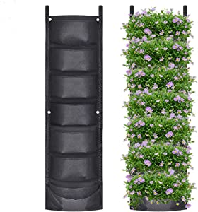 Martine Mall 2 Pack Vertical Hanging Garden Planter with 7 Pockets, Deeper and Bigger Felt Wall Mount Planter Pouch Solution for Herbs or Flowers Outdoor Garden and Patio Areas
